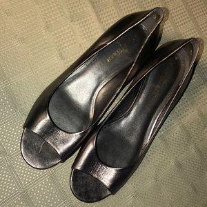 Cole Haan Women's Metallic Silver Open Toe Wedges